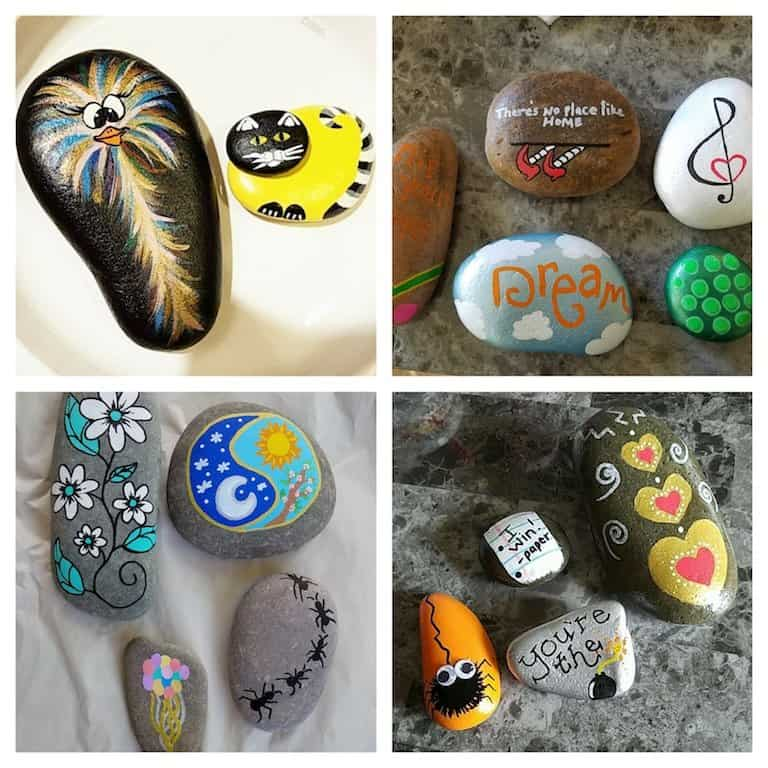 A collage of painted rock art