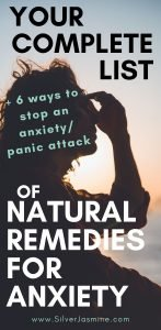 Here is a complete list of how to get relief from anxiety naturally.  Plus 6 ways to stop an anxiety attack or panic attack. Anxiety Coping Skills #anxietyremedies #anxietycopingskills #anxietyrelief #Anxietyattack #panicattack