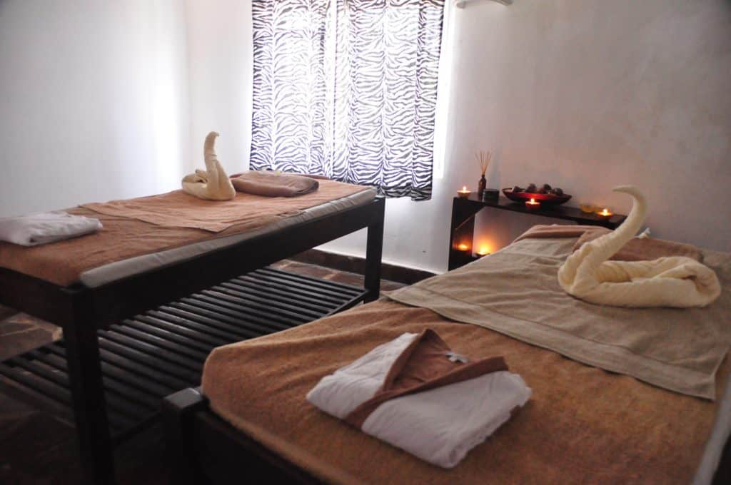 2 couples massage tables in spa room