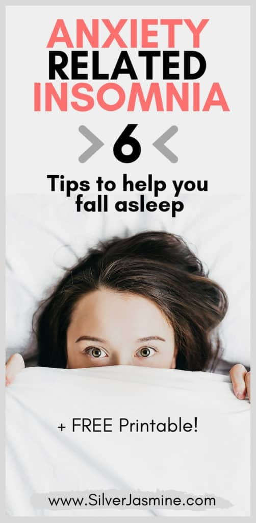 How frustrating is it to finally get in bed for the night, but then can't fall asleep?!  Tossing and turning as anxiety and insomnia get the best of you.  Here are 6 remedies you can do when you can't fall asleep due to anxiety-related insomnia.  #sleep #anxiety #Cantsleep #insomnia #cantfallasleepremedies