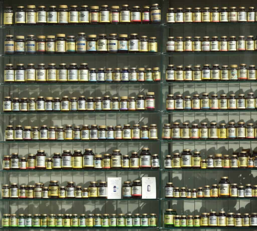 Rows of supplements on a stores' shelves