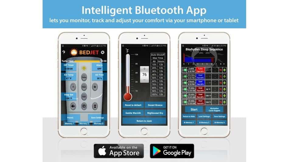 screenshot of the Bedjet bluetooth app