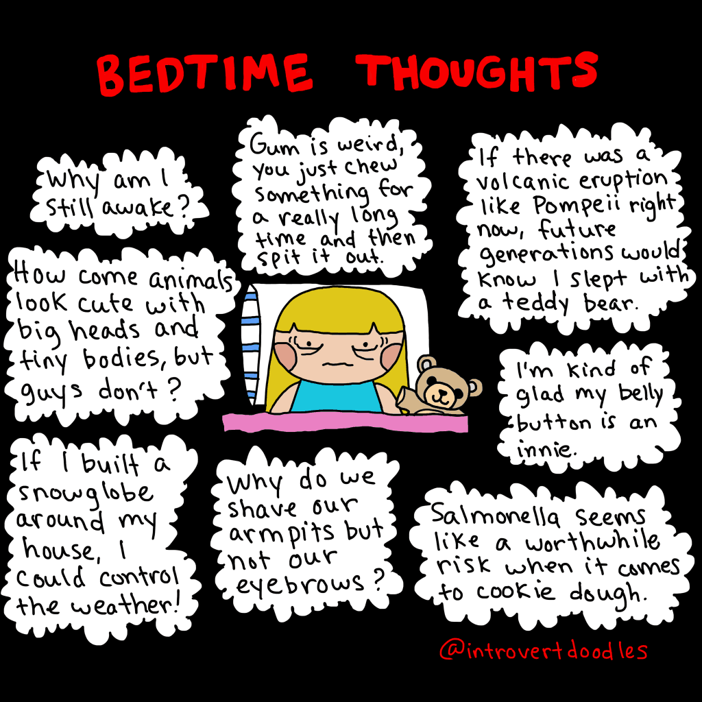 """funny meme """"Bedtime Thoughts"""" by IntrovertDoodle"""
