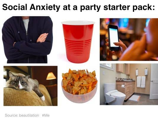 Funny Meme - Social Anxiety at a party Starter pack