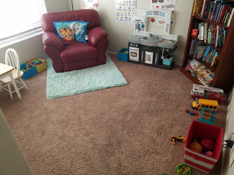 Clean playroom after purge. How to Save money with kids