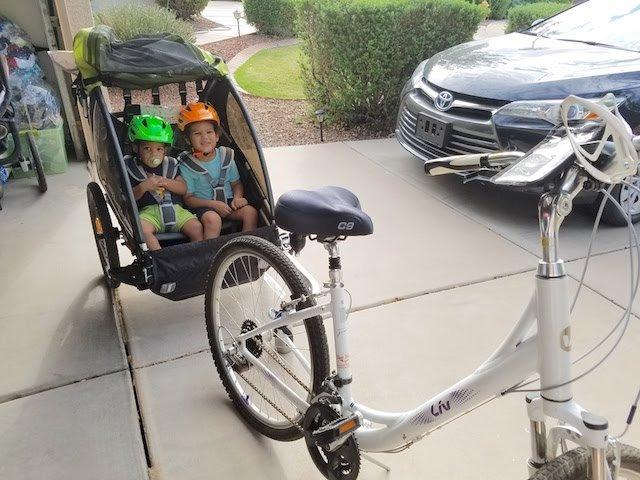 2 kids in the burley d'lite child bike trailer